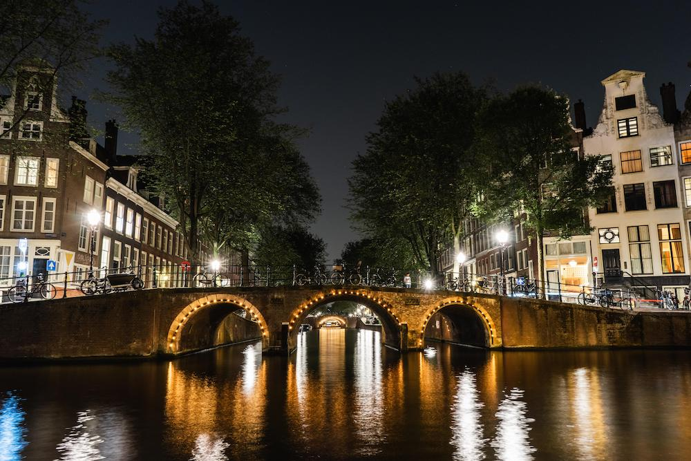 Illuminated Amsterdam Canal