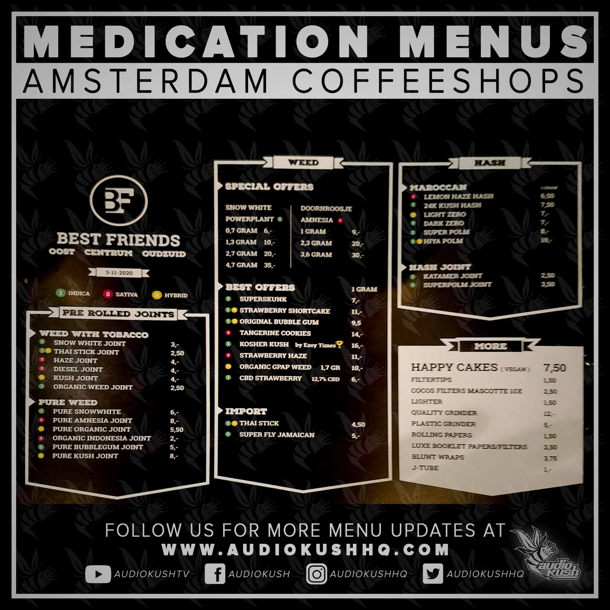 Coffeeshop Menu, Amsterdam, Best Friends, Nov 9 2020