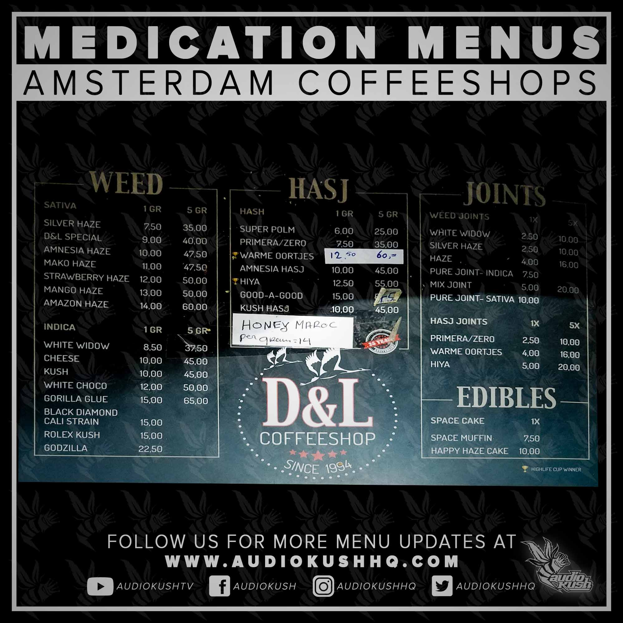 Coffeeshop Menu, Amsterdam, D&L, 16 October 2020