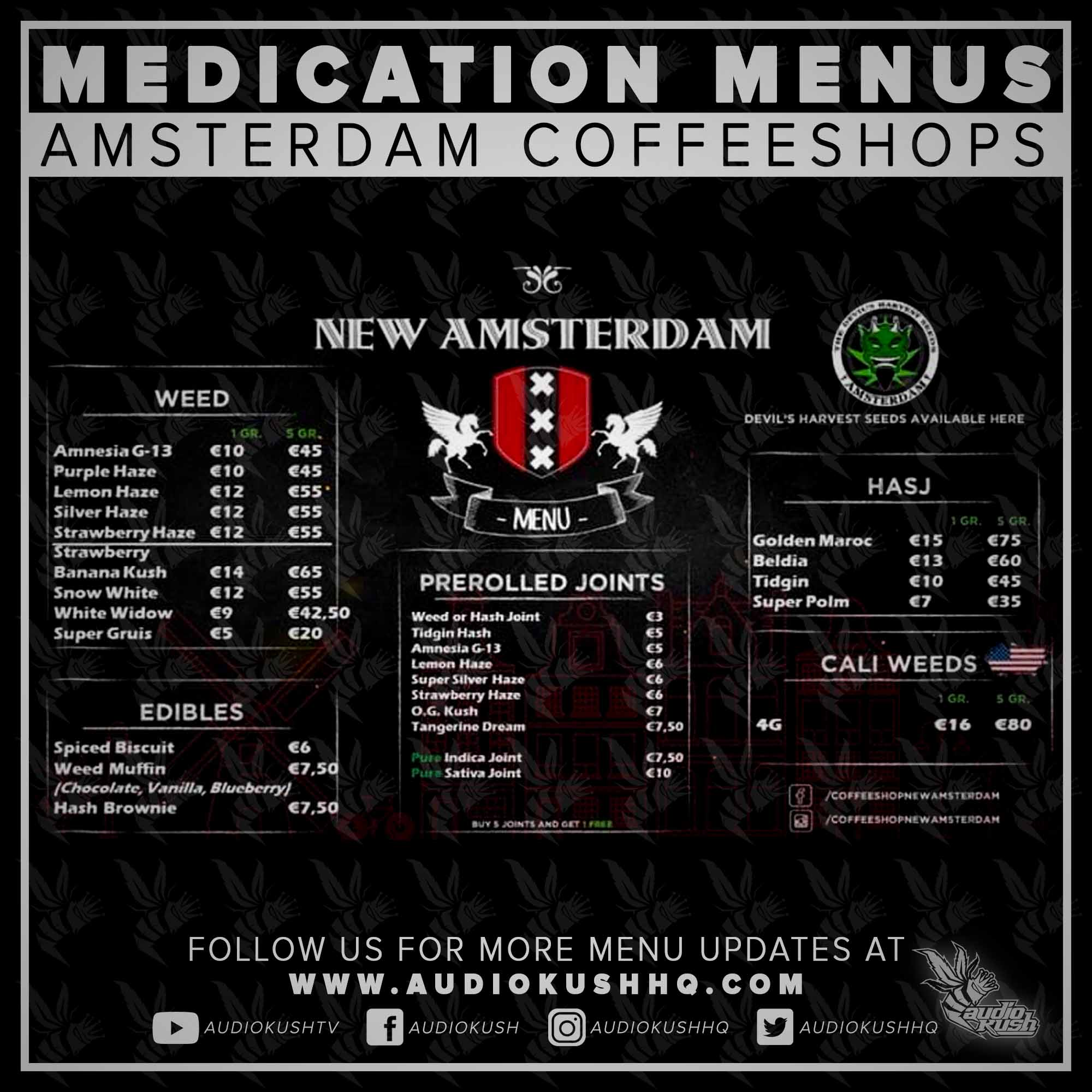 Coffeeshop Menu, Amsterdam, New Amsterdam, Nov 9 2020
