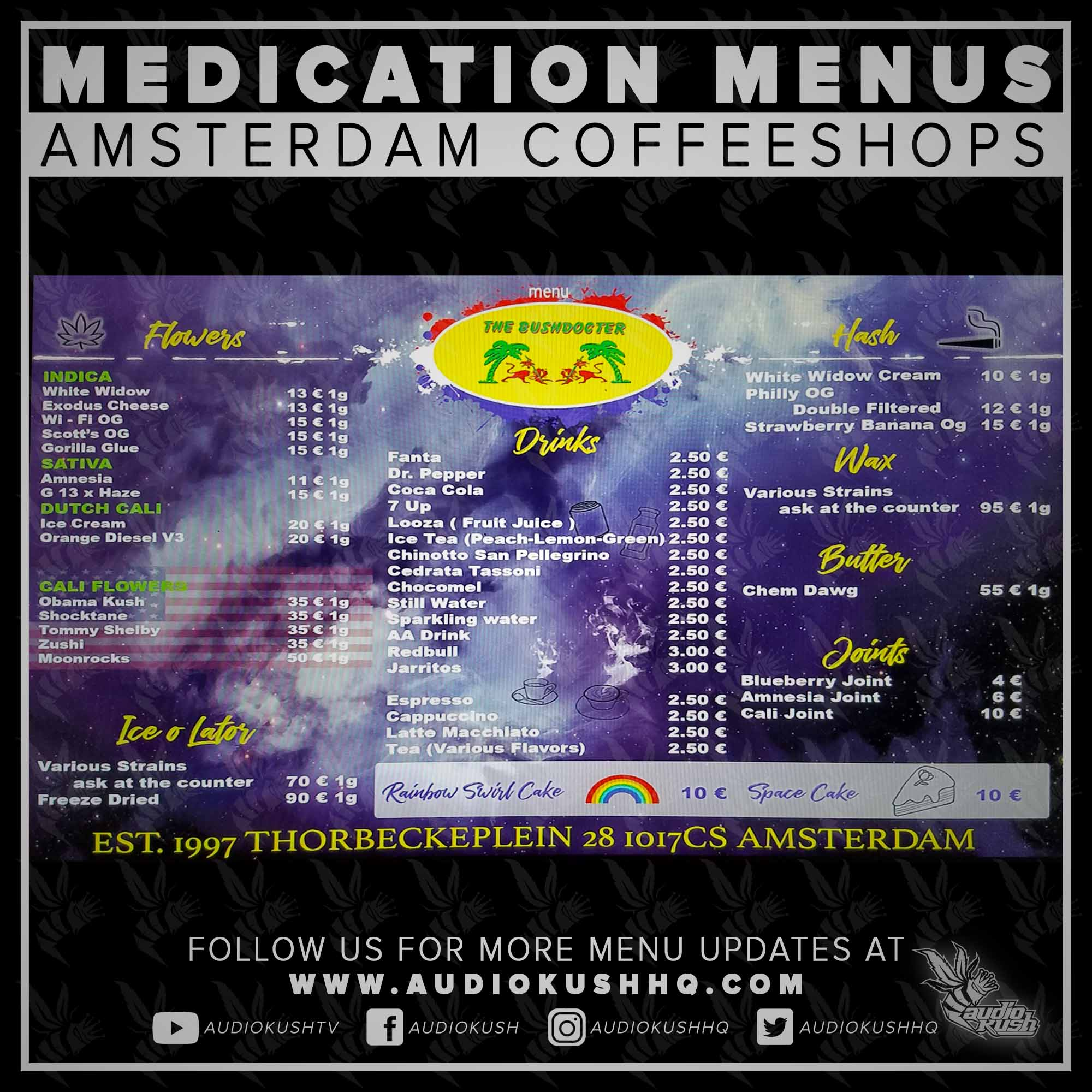 Coffeeshop Menu, Amsterdam, The Bushdocter, Nov 9 2020