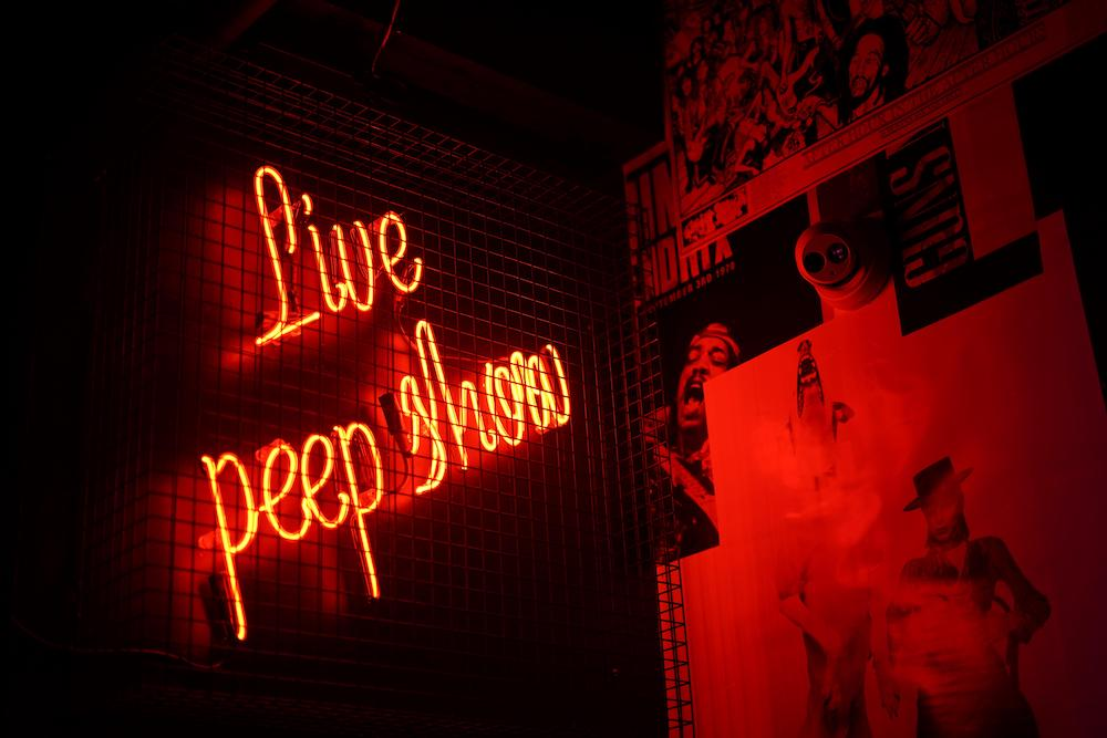 Amsterdam Peep Show, neon sign, The Sex Palace, Amsterdam