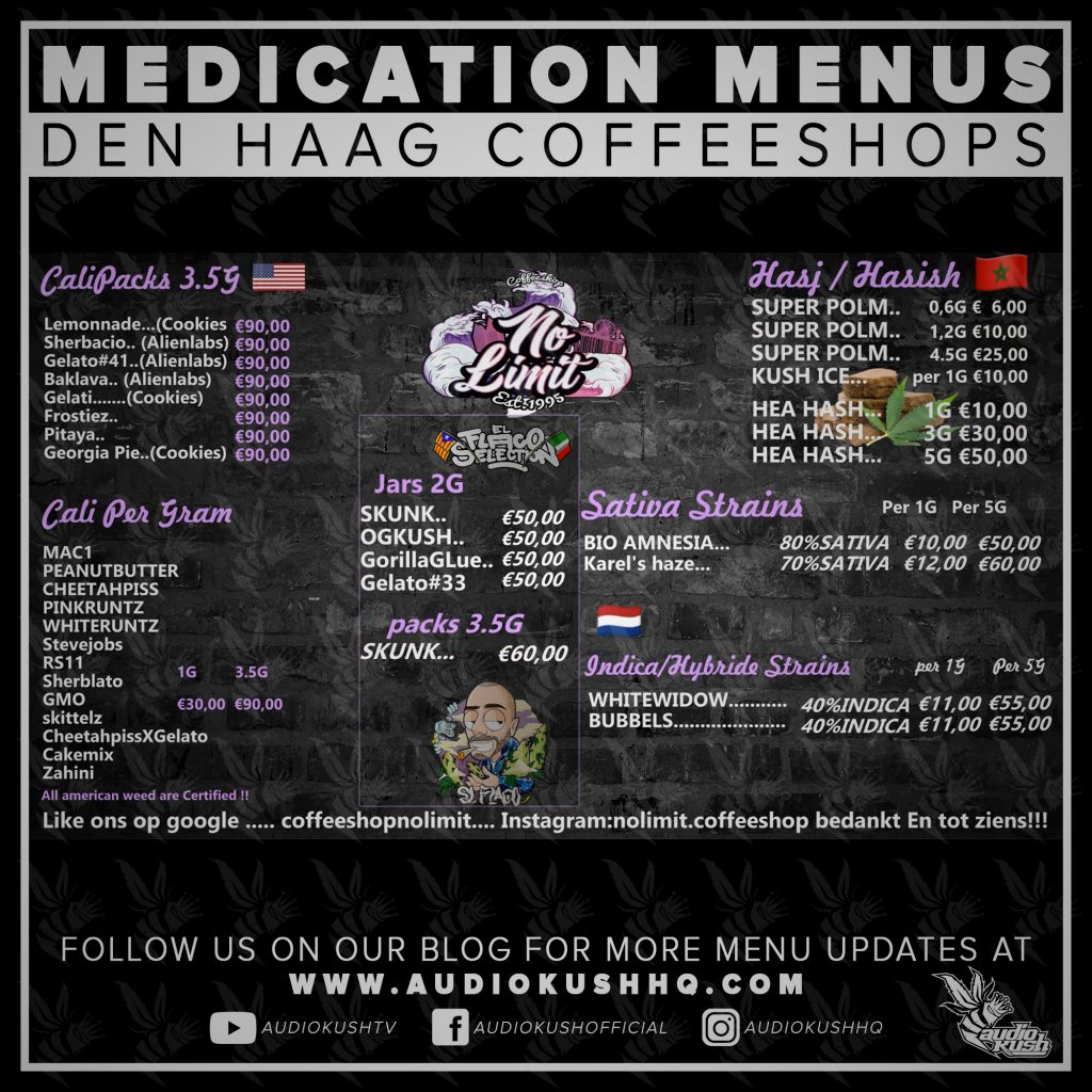 Medication Menu update: Coffeeshop No Limit, Den Haag (22 March 2020). Coffeeshop No Limit is located at Witte de Withstraat 4, A, 2518 CT in Den Haag.