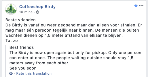 Coffeeshop Birdy in Haarlem reopens. They have just announced that it will be offering take away. You can now pick up cannabis and hash from the coffeeshop.