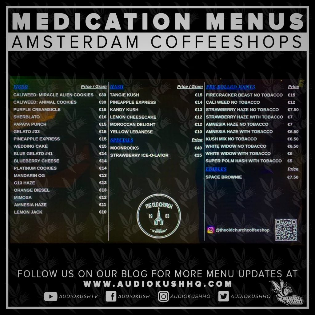 Medication Menu update: Coffeeshop The Old Church, Amsterdam (1 June 2020). Coffeeshop The Old Church is located at Amstel 8, 1017 AA in Amsterdam.